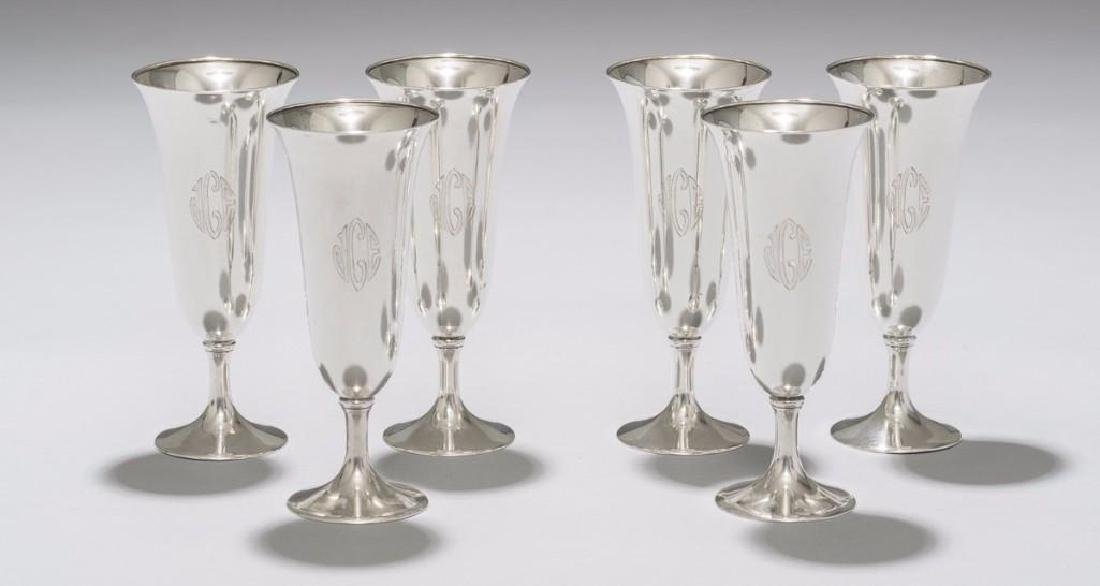 Set of 6 Sterling Silver Champagne Flutes