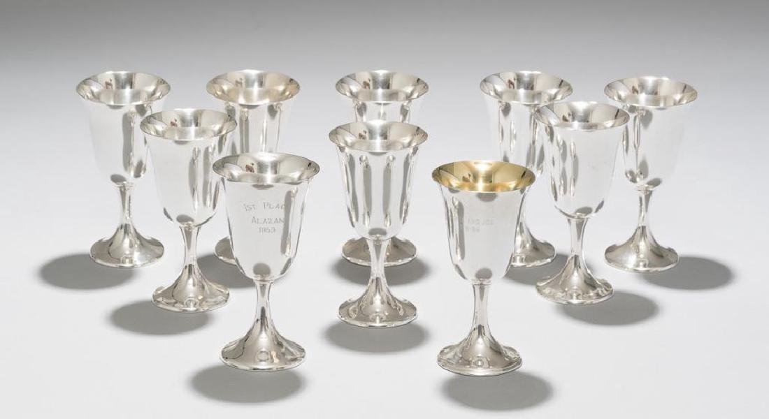American Sterling Silver Goblets Set of 10