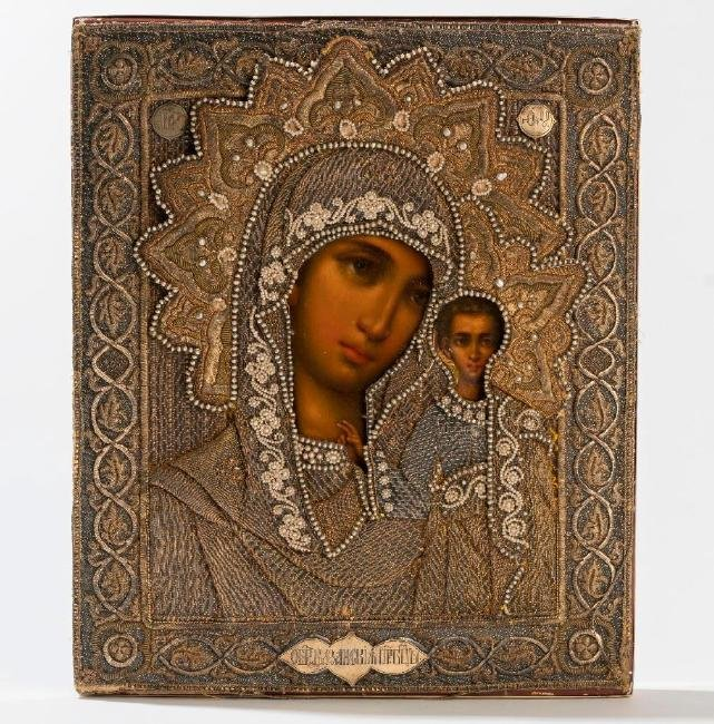 Kazan Mother of God Russian Icon, Faberge