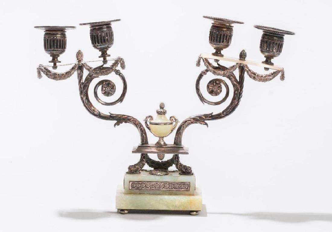 Russian Silver and Bowenite Candle holder, Faberge