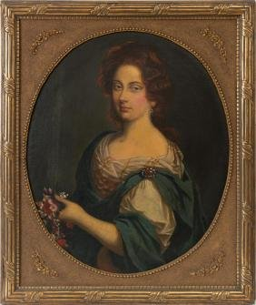 Portrait of a woman holding flowers, oil on canvas
