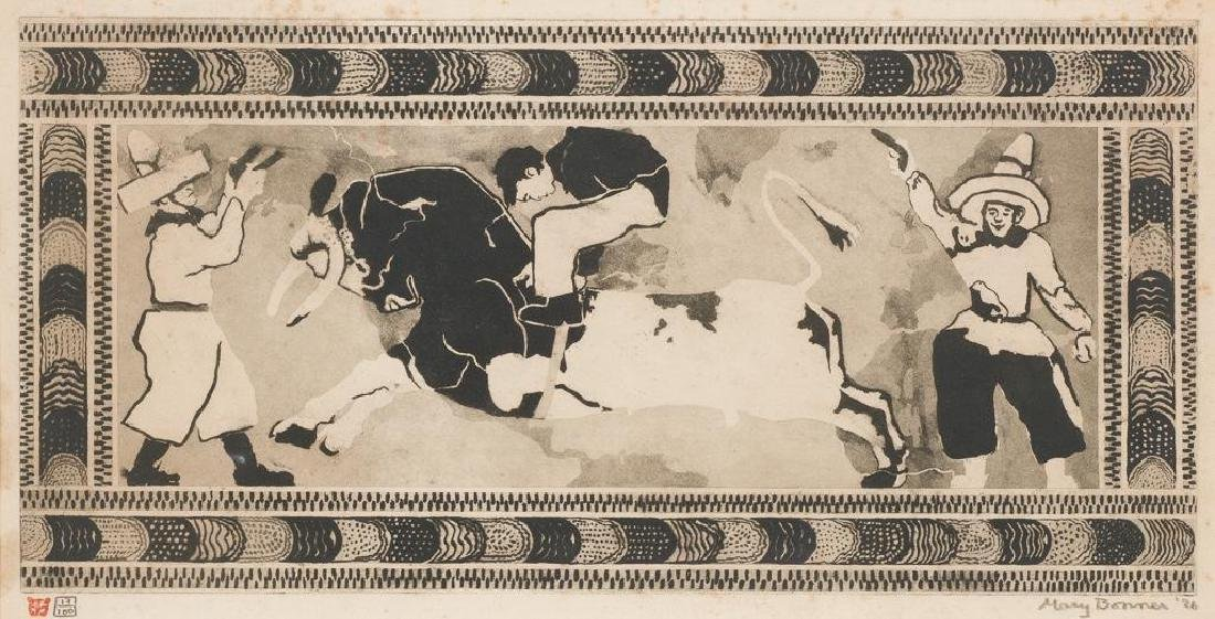 Mary Bonner (1887-1935), Bucking Steer, 1926, Etching,