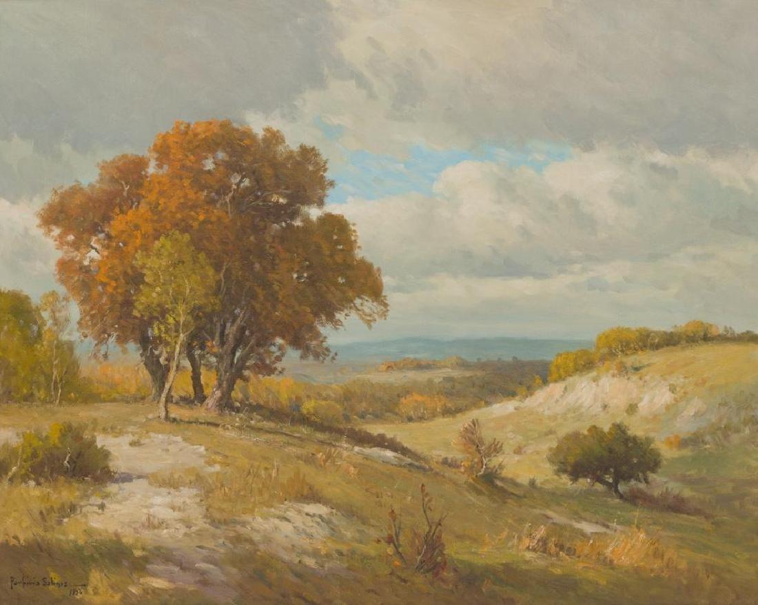 Porfirio Salinas (1910-1973), Hillside scene, 1956, oil