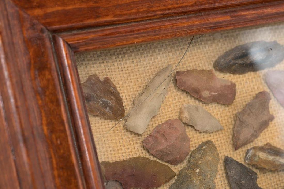 Large framed display of Texas artifacts: ~500 points - 5