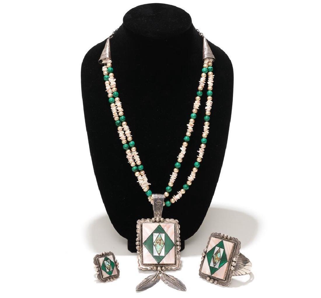 Wilson Jim 3 Piece Malachite Jewelry Set