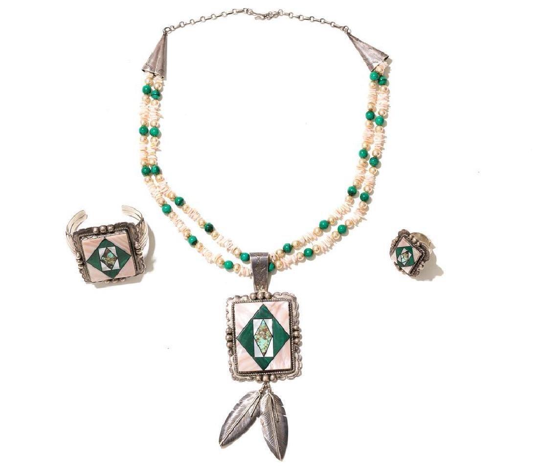 Wilson Jim 3 Piece Malachite Jewelry Set - 2