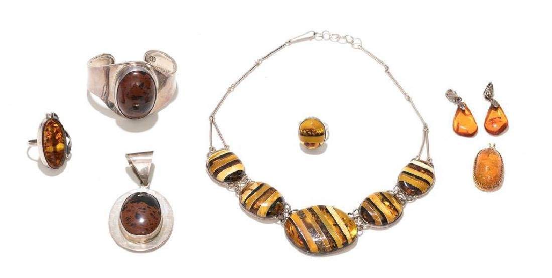 7 Piece Group of Mexican Sterling & Amber Estate