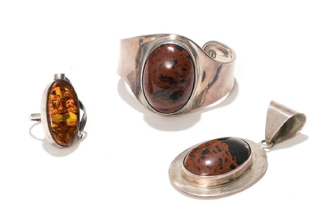 7 Piece Group of Mexican Sterling & Amber Estate - 2
