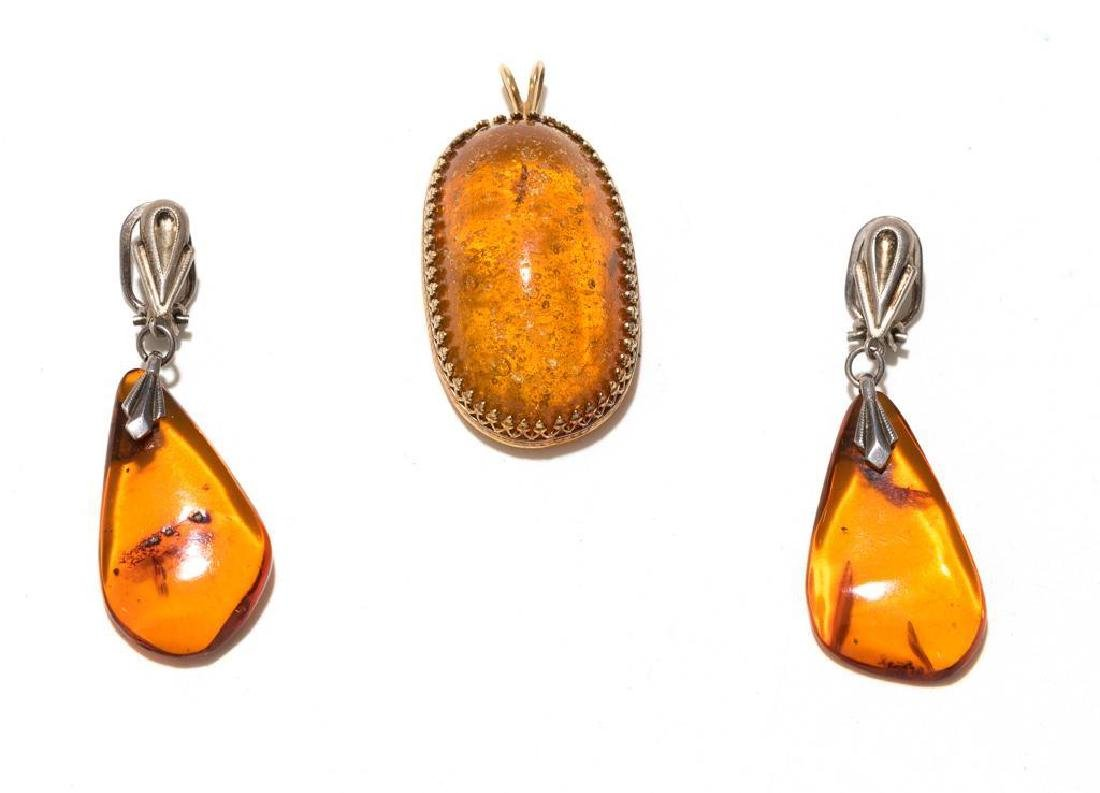 7 Piece Group of Mexican Sterling & Amber Estate - 8