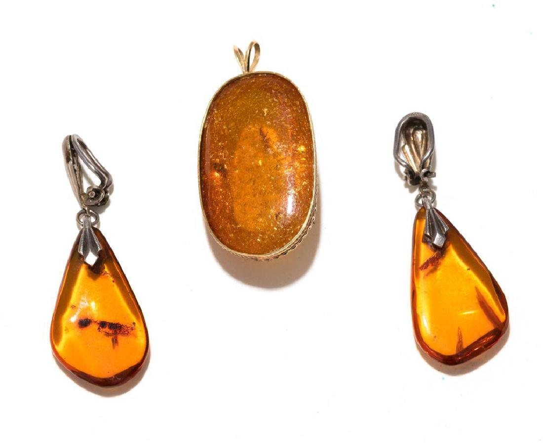 7 Piece Group of Mexican Sterling & Amber Estate - 9