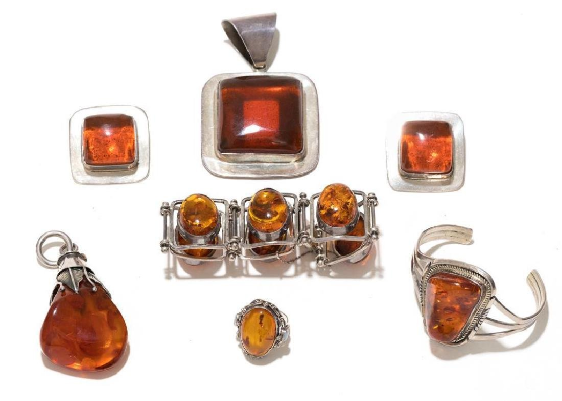 6 Piece Group of Mexican Sterling & Amber Estate