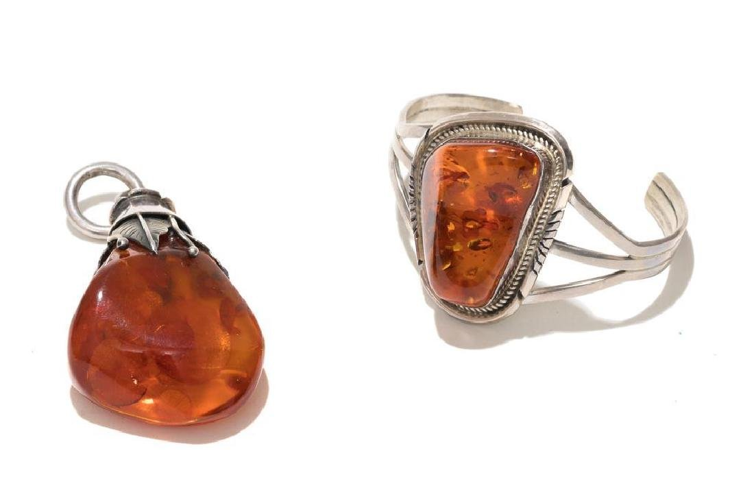 6 Piece Group of Mexican Sterling & Amber Estate - 2