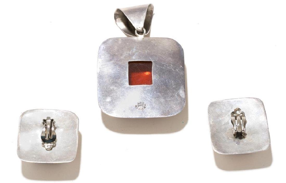6 Piece Group of Mexican Sterling & Amber Estate - 6