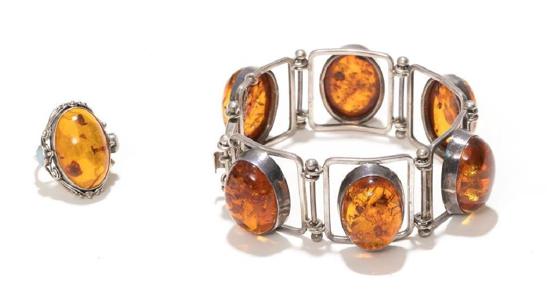 6 Piece Group of Mexican Sterling & Amber Estate - 8