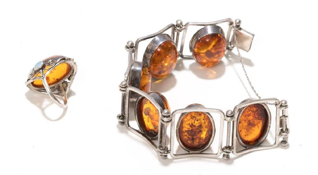 6 Piece Group of Mexican Sterling & Amber Estate - 9