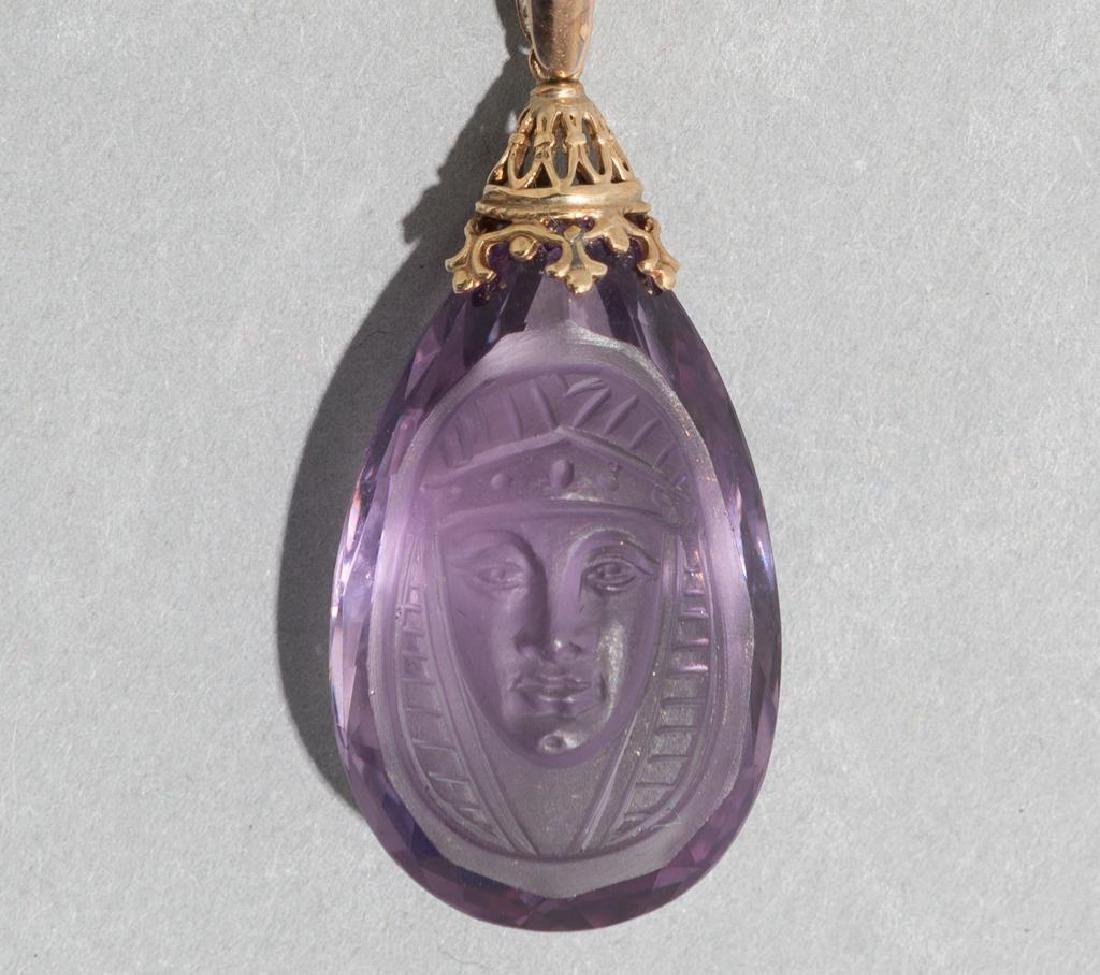 Egyptian Revival 14K Gold & Carved Amethyst Pendant