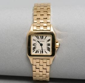 Estate Cartier 18k Gold Santos Demoiselle Ladies Watch