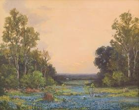 Robert Wood (1889-1979), Bluebonnets, Oil On Canvas