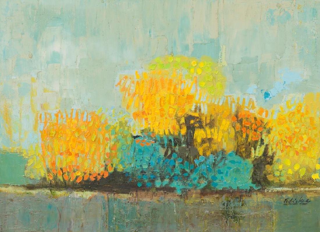 David Adickes (b. 1927), Blooming Flowers, oil