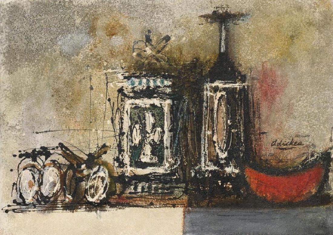 David Adickes (b. 1927), Bottles and Melon, oil