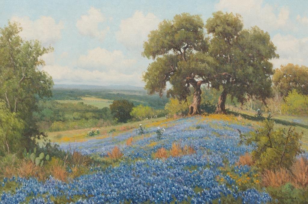"Porfirio Salinas (1910-1973), Bluebonnets, 20 x 30"""