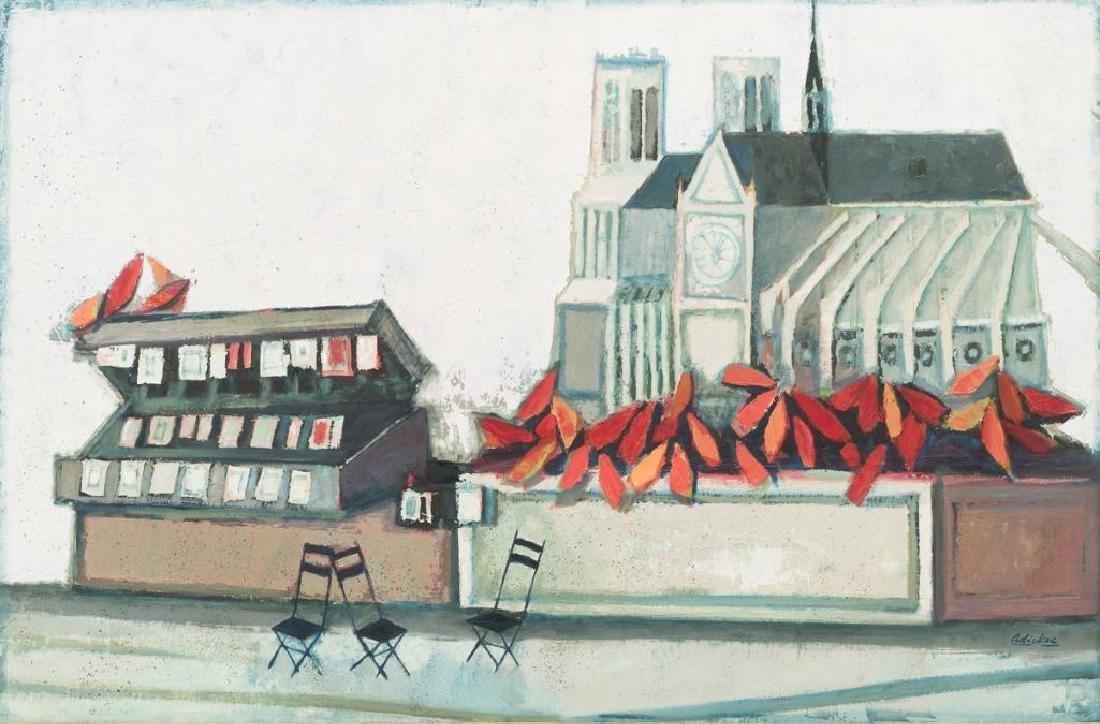 David Adickes (b. 1927), Notre Dame, oil on board