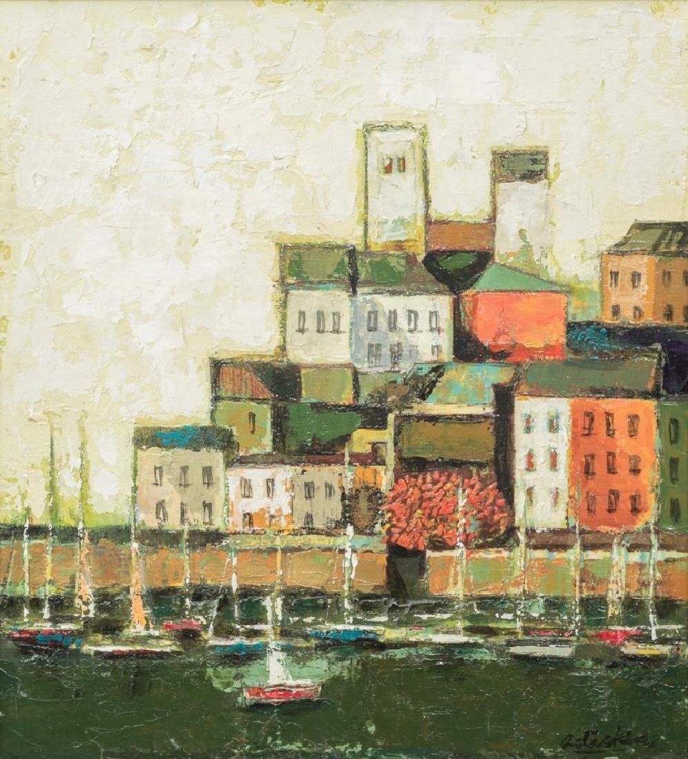 David Adickes (b. 1927), Harbor Scene, oil on canvas,