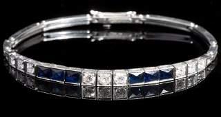 Art Deco Tiffany PlatinumSapphireDiamond Bracelet