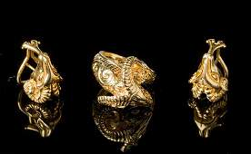 Estate 14k Gold Rams Head Earrings  Ring