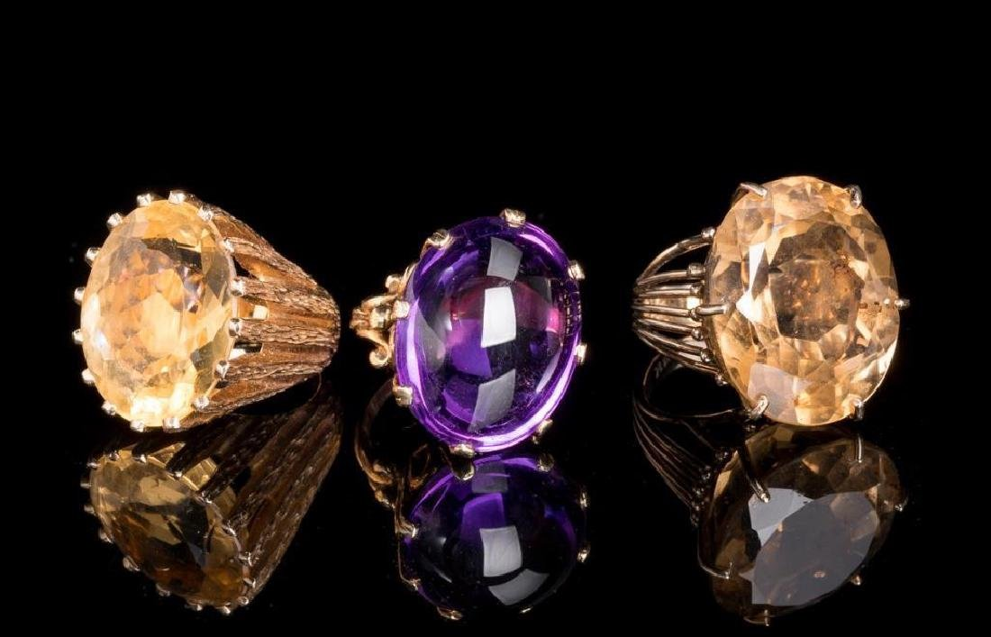 Group of 3 Estate Jewelry Rings Amethyst/Citrine/Topaz