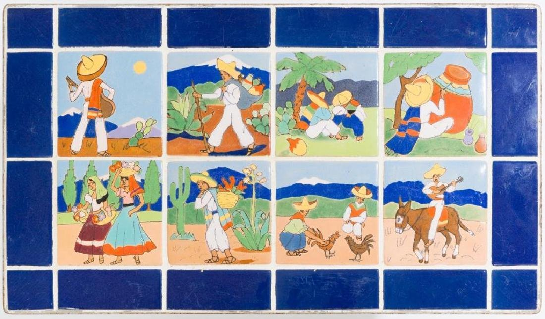 San Jose Pottery, Tile Table w Mexican Scenes