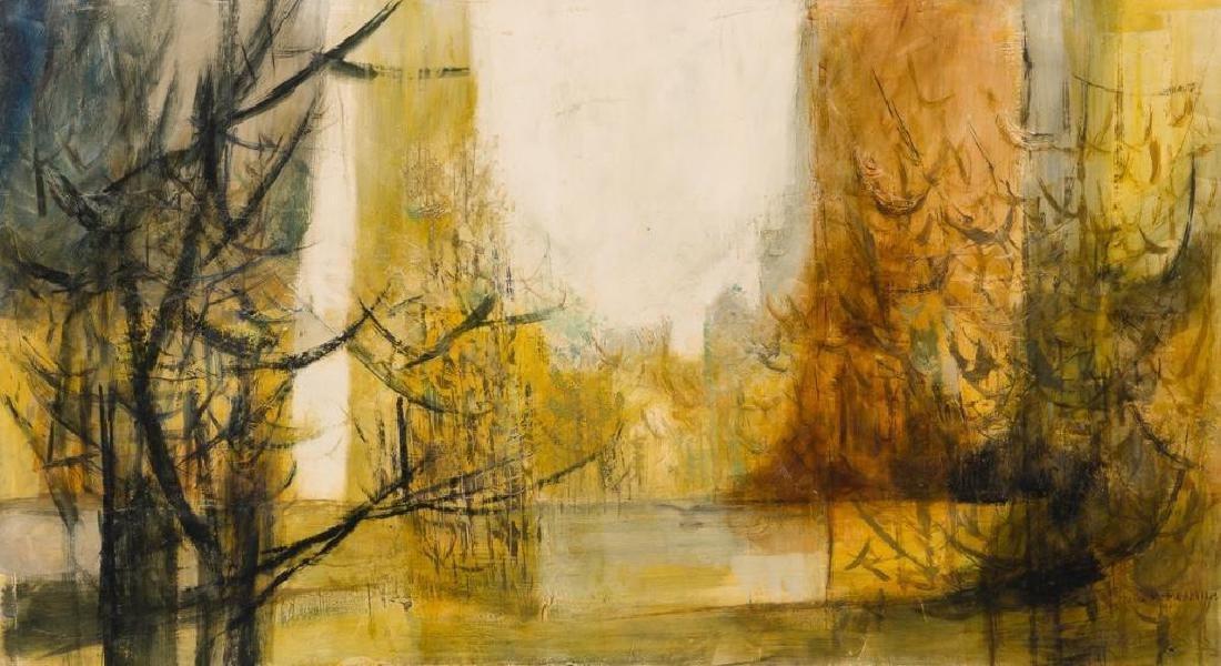 Jesse Medellin (1921-1997), Riverside, oil on board,