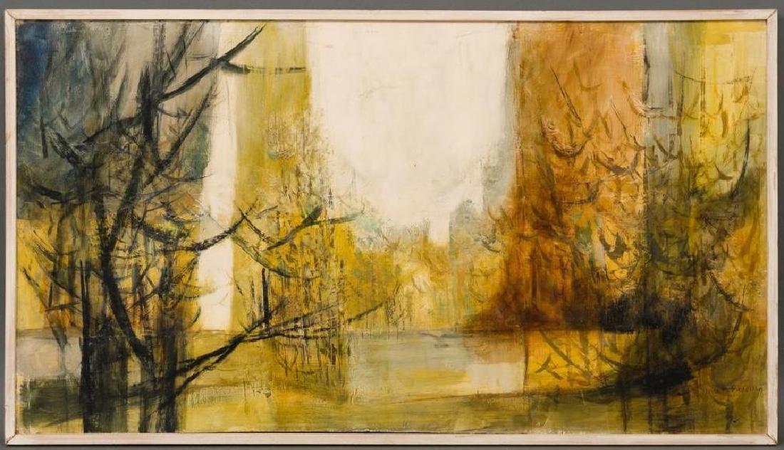 Jesse Medellin (1921-1997), Riverside, oil on board, - 2