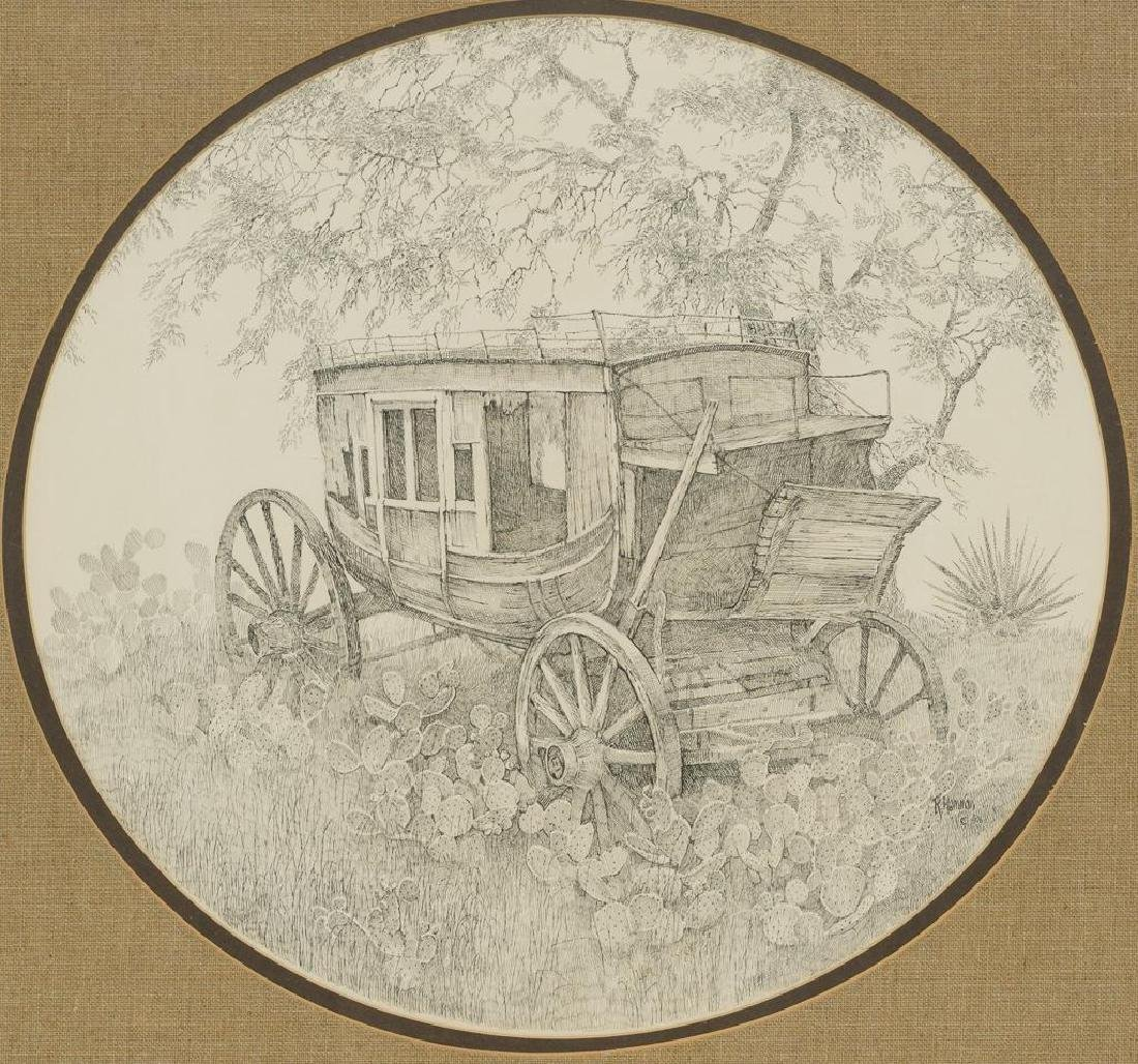 "Robert Hamman, ""The Old Stage Coach"", 1976, pen/ink"