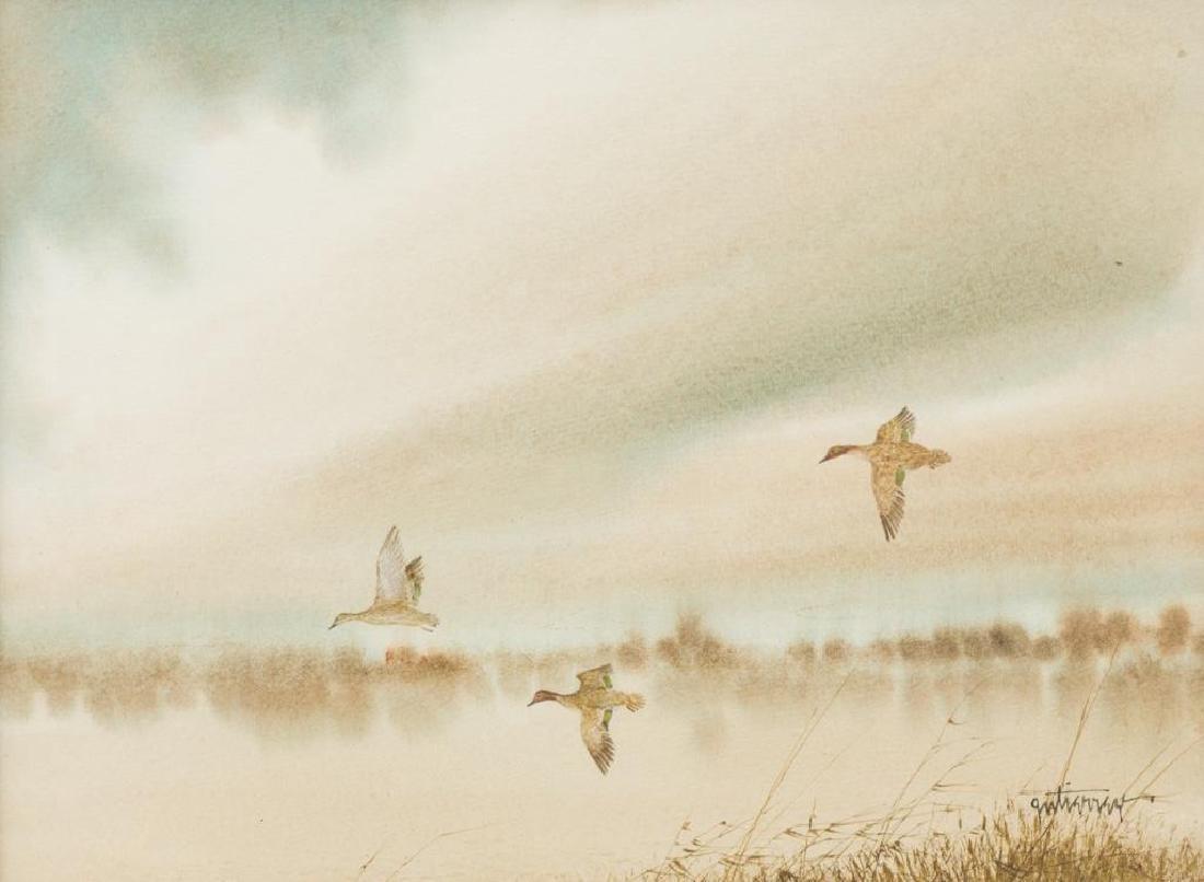 Raul Gutierrez (b. 1935), Ducks in Flight, watercolor
