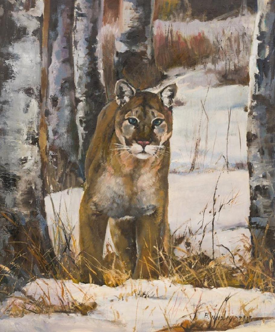 Brigitte Woosley, Mountain Lion in Winter, 2001, oil