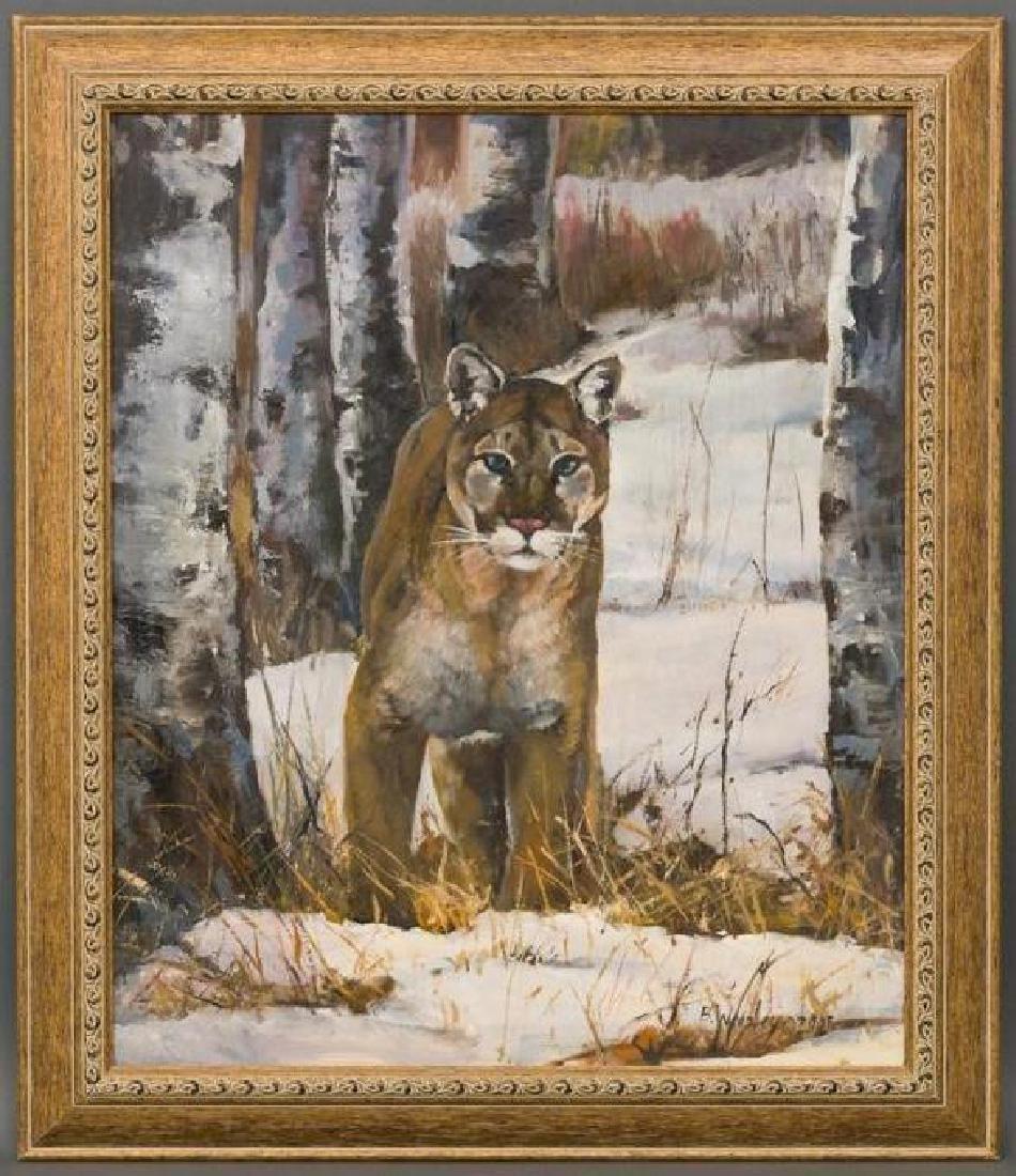 Brigitte Woosley, Mountain Lion in Winter, 2001, oil - 2