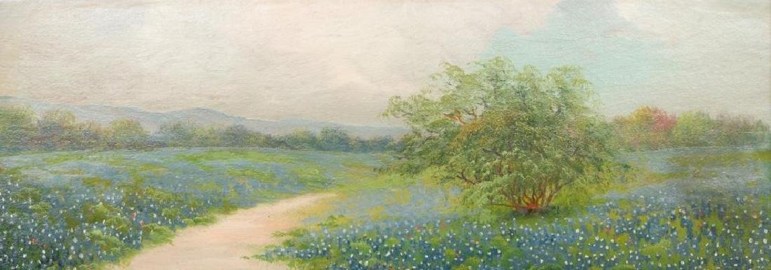 """A Field of Bluebonnets, c. 1920, oil on board, 7 x 19"""""""