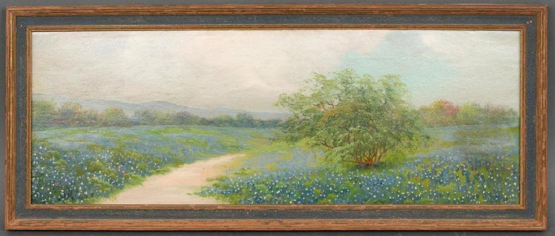 """A Field of Bluebonnets, c. 1920, oil on board, 7 x 19"""" - 2"""