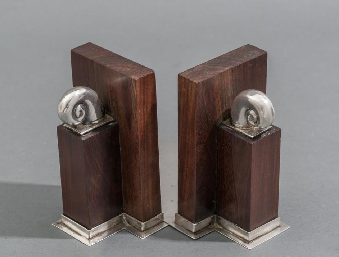William Spratling Sterling & Rosewood Nautilus Bookends