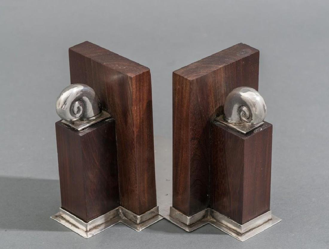 William Spratling Sterling & Rosewood Nautilus Bookends