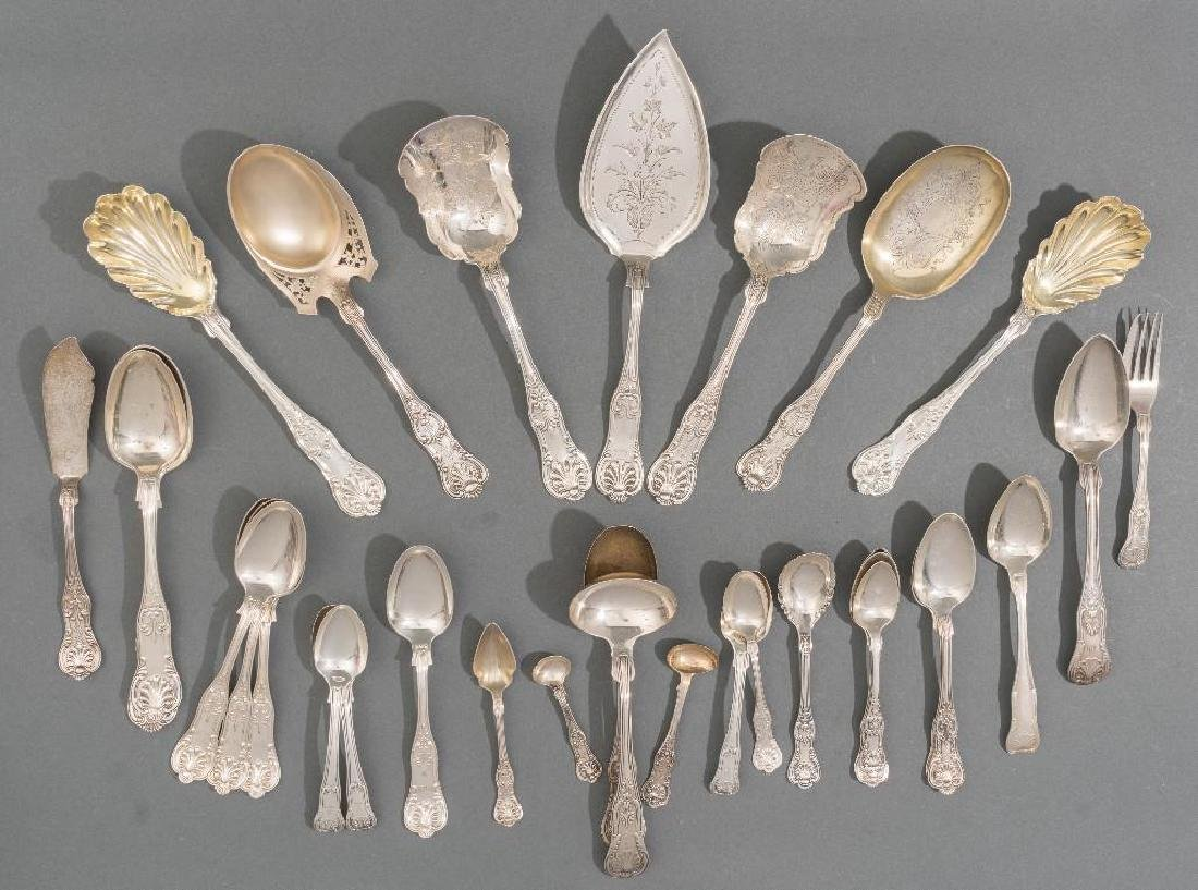 Collection of 'King' Pattern Silver flatware