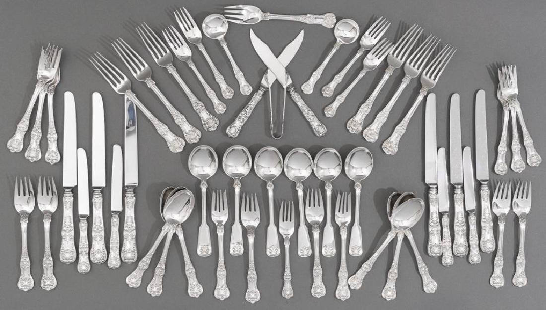 Tiffany 'English King' Sterling Silver Flatware Set 52