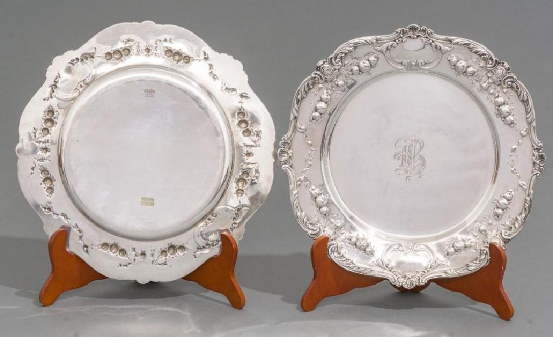Pair of Early Gorham Sterling Silver Chargers - 2