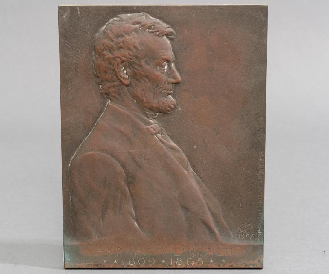 Victor D. Brenner Lincoln Bronze Plaque