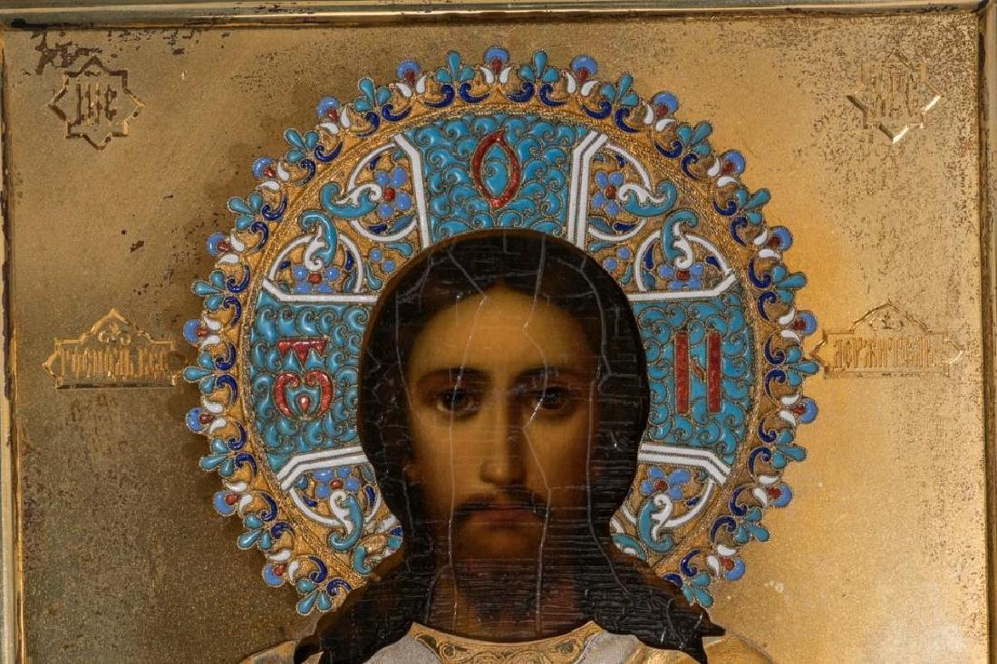 Russian Icon of Christ Pantocrator with Gilded Silver - 4