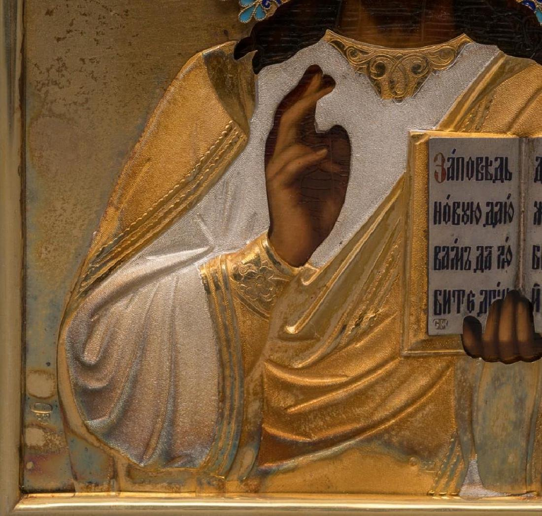 Russian Icon of Christ Pantocrator with Gilded Silver - 9
