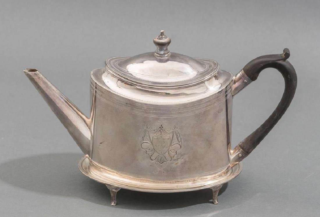 English Sterling Silver Georgian Teapot & Stand