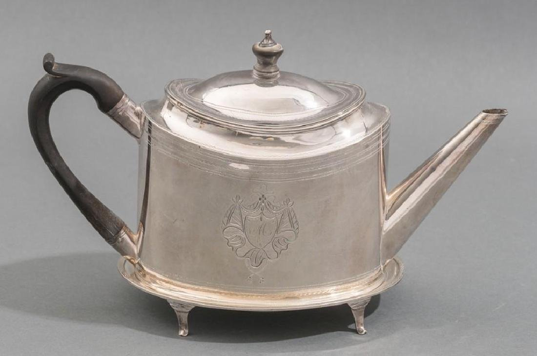 English Sterling Silver Georgian Teapot & Stand - 2