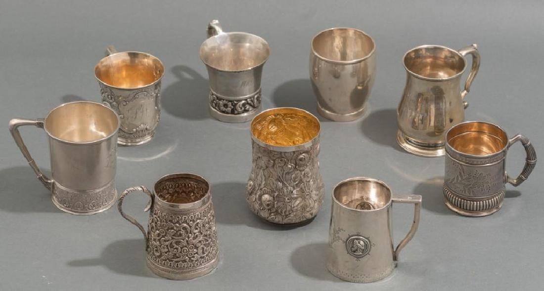 Collection of 9 Early Coin and Sterling Silver Drinking